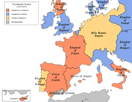 Map of Allegiances during the Great Schism of 1378