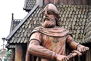 Viking Warrior wielding a Sword and wearing a Helmet